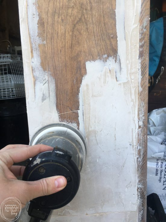 One way to repair peeling or missing wood veneer is to build the surface back up with wood filler.