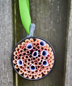 Cool idea to reuse old juice glasses AND bring pollinators into your backyard! What an easy way to make a DIY bee hotel for mason bees via Refresh Living. Includes tips for where to hang the mason bee home and what to do with it over the winter.