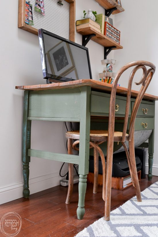 Using milk paint on antique furniture gives it an authentic and time worn painted look. This dark green is a mix of Miss Mustard Seed Boxwood and Artissimo.
