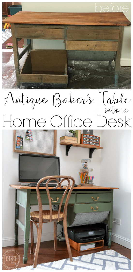 An antique piece of furniture with a modern color. This vintage modern green desk was made from an antique baker's table with the flour drawer removed to fit a chair. Perfect upcycle for a home office.