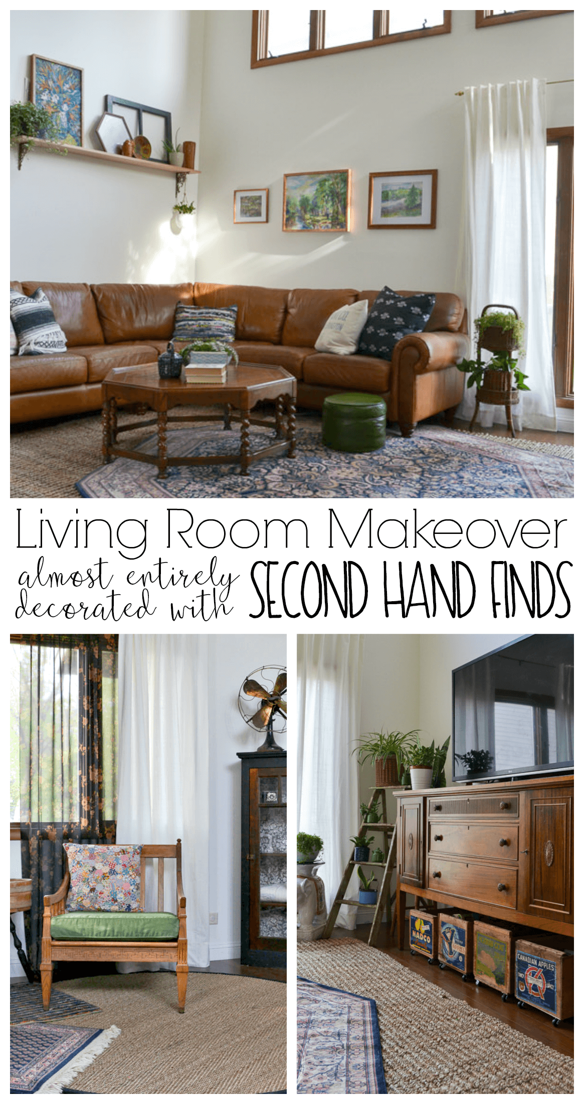 eclectic vintage modern living room decorated with second ...
