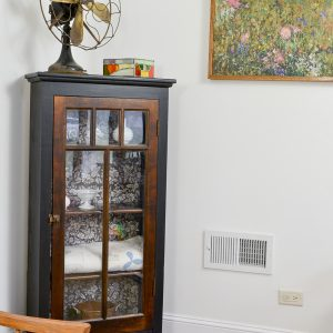 Refinished Antique Cabinet with Black and White Decorative Paper
