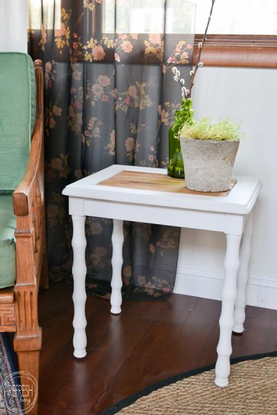 This farmhouse table painted white with wood slats used to be a table with broken caning. What a good idea on how to fix broken caning in benches and chairs.
