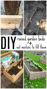 DIY raised garden beds in less than one hour! This project is easy and is a great way to keep your vegetable garden contained and easy to maintain.