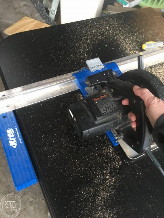 This is my favorite tool for cutting large pieces of wood. Gives a straight cut every time, and is easier than a table saw for large pieces!