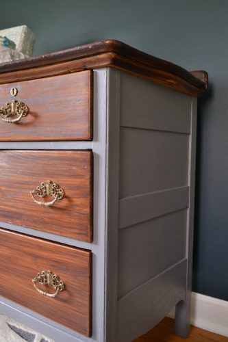 Using gel stain is an easy way to darken the color of wood without the hassle of stripping or sanding. Gray and wood dresser with General Finishes Java Gel Stain. Includes a video showing how to apply gel stain over previously finished wood.