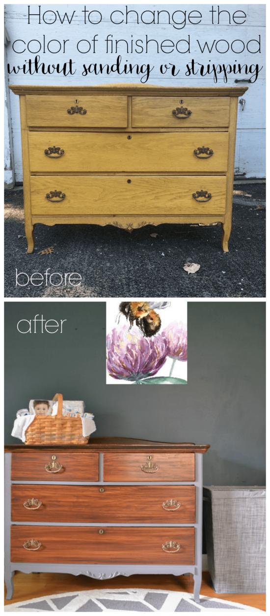 You can darken the color of finished wood without the hassle of sanding or stripping to the original wood. So many great tips for refinishing furniture!