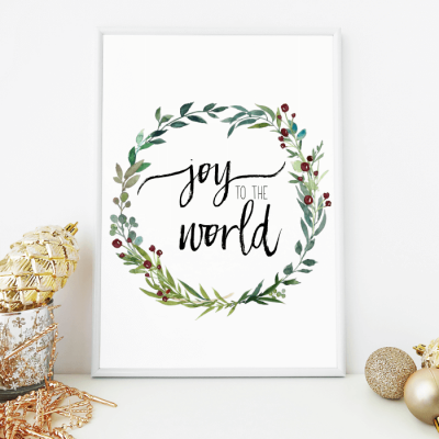 Joy to the World watercolor wreath free printable for Christmas.