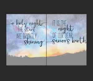 O holy night lyrics watercolor free printable for Christmas.