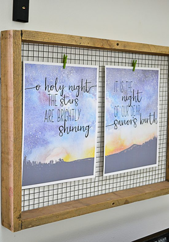 O holy night lyrics watercolor free printable for Christmas.