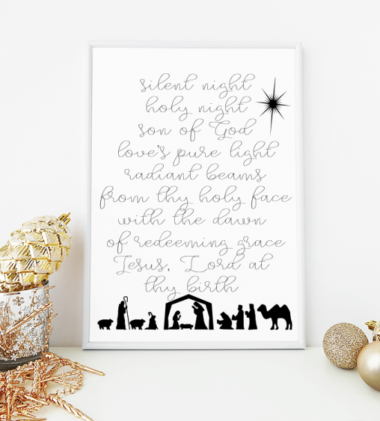 Silent Night watercolor wreath free printable for Christmas.