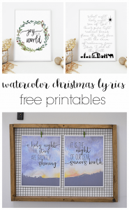Three free printable watercolor images with the lyrics to some of my favorite Christmas songs. O Holy Night, Joy to the World, Silent Night