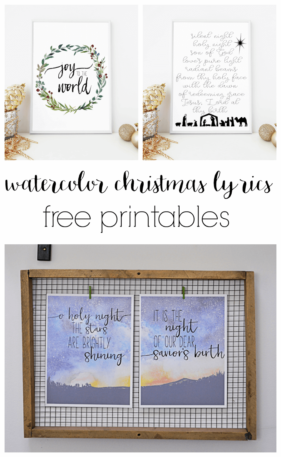 image relating to Silent Night Lyrics Printable identified as cost-free printable watercolor xmas lyrics in the direction of quiet night time