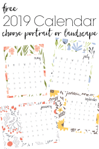 Love the bright colors and modern floral pattern of this free printable 2019 calendar. Options to print in either landscape or portrait layout.