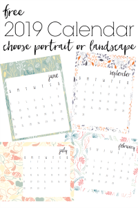 Love the colors and modern floral pattern with a farmhouse feel of this free printable 2019 calendar. Options to print in either landscape or portrait layout.