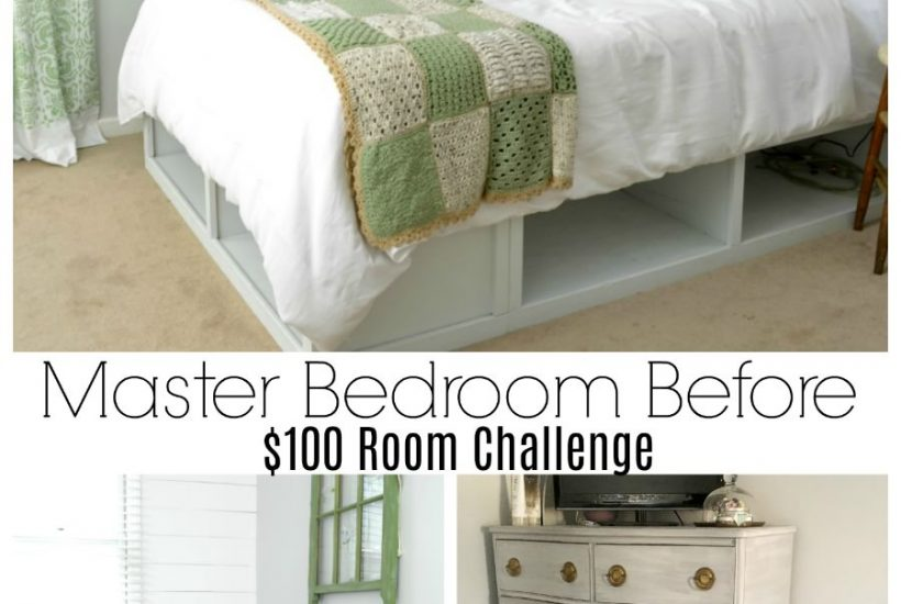 Boring master bedroom gets a makeover for less than $100. It's now a colorful vintage modern space.