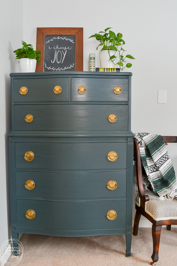 Dark Green Painted Vintage Dresser With Diy Chalk Paint