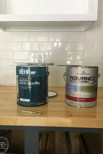 This is the best paint for painting kitchen cabinets. It levels well and dried to a durable finish, without the need for a topcoat!