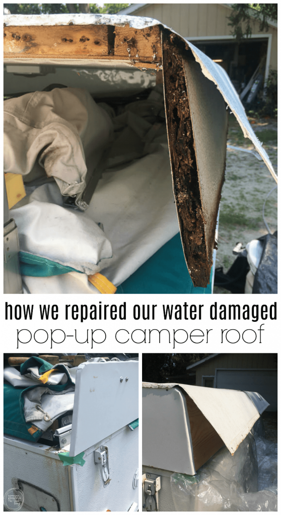 After finding a roof that was rotting away due to water damage in our pop up camper, we rebuilt it, made it watertight, and now it's as good as new! How we repaired our water damaged pop up camper roof via Refresh Living.