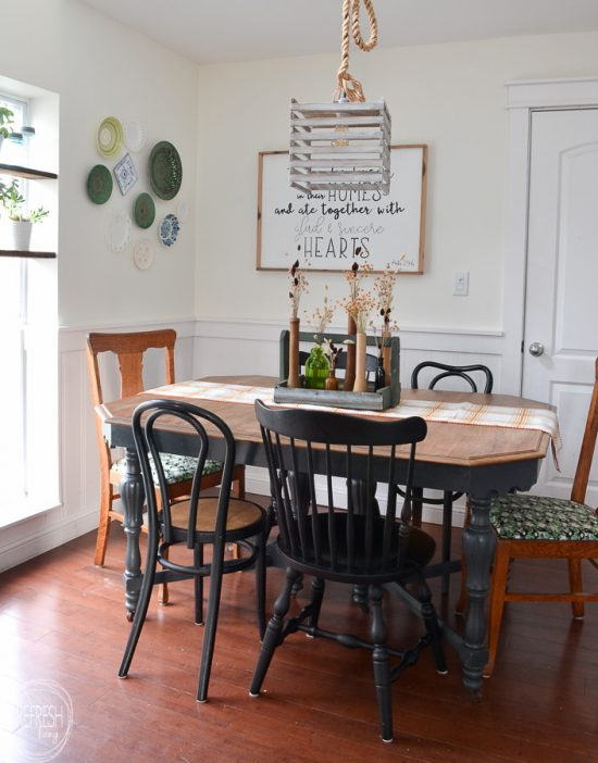 Eat in kitchen makeover for $100, including a new table and chairs!