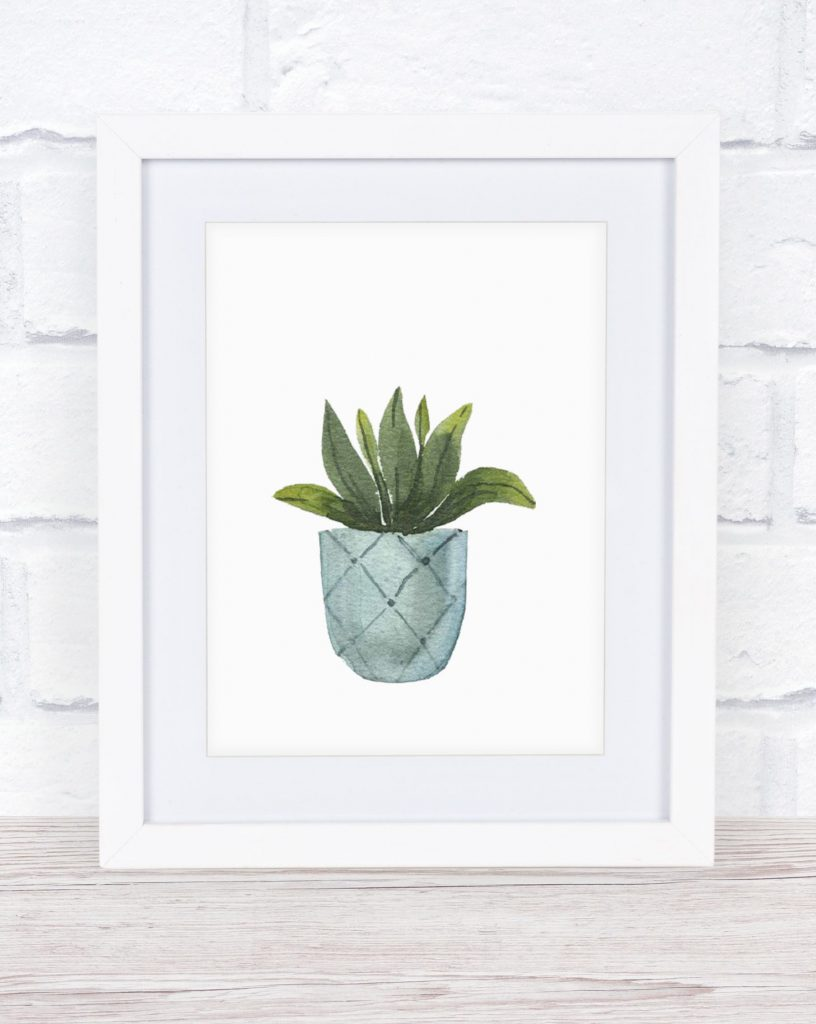 This free watercolor printable potted plant is adorable and the perfect way to add a touch of spring without spending a lot of money.