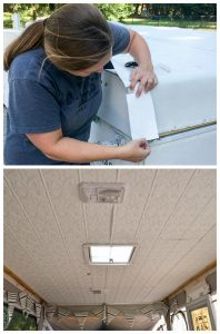 This pop up camper roof was destroyed by water. Details on how we repaired the damage, sealed the roof to make it watertight, and gave the ceiling a new look for cheap.