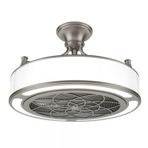 10 safe options for ceiling fans in a room with bunk beds or a lofted bed. These fans have cages around the blades to make them the best ceiling fans for bunk beds. Fandeliers for rooms with bunk beds.