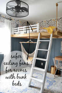 10 safer options for ceiling fans in a room with bunk beds or a lofted bed. These fans have cages around the blades to make them the best ceiling fans for bunk beds. Fandeliers for rooms with bunk beds.