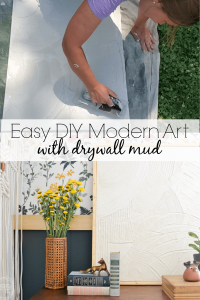 Such an easy way to make large scale art for cheap using canvas artwork and drywall mud. Video tutorial and step by step process for how to make a DIY modern art on canvas