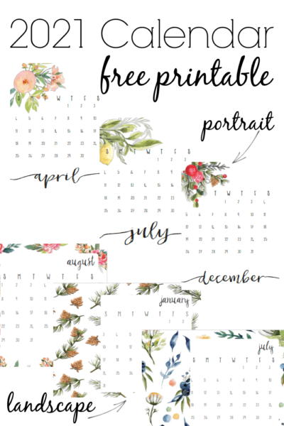 Download and print this free printable calendar with watercolor floral patterns. Visit the page for horizontal/landscape or vertical/portrait options.