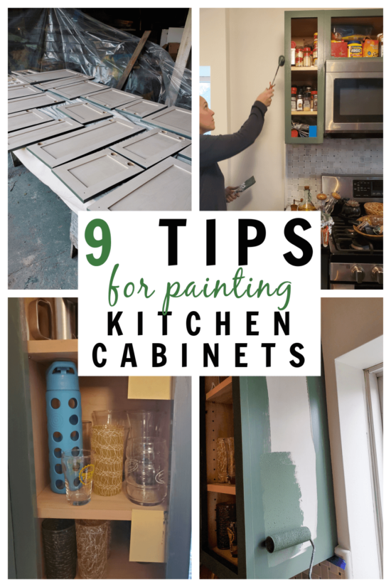 9 tips for painting kitchen cabinets collage image of how to paint kitchen cabinets