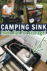 Portable camping sink that folds up flat for storage.