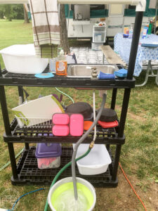 How to make a outdoor sink for camping using a plastic shelving unit