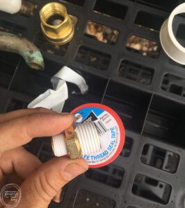 Plumbing supplies to make a camping sink
