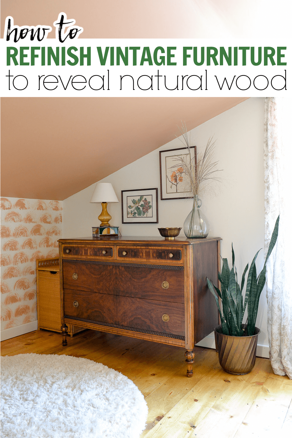 How to strip vintage wood furniture and refinish it to reveal natural woodgrain in MCM furniture.