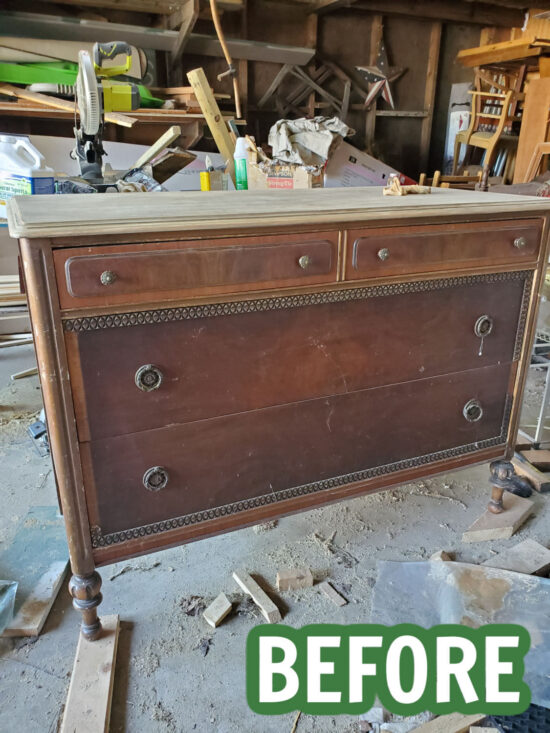 You won't believe the beautiful wood hiding under this old finish on this dresser. It's easy to remove the old finish from vintage furniture to reveal and highlight the natural woodgrain.