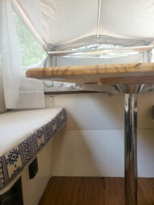 RV camper table with metal pole