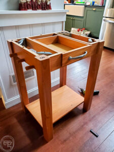 rolling kitchen island before painting
